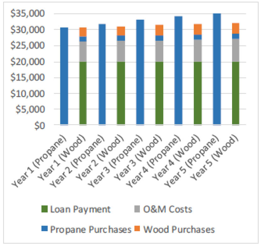 Chart of Loan Payments, Propane Purchases, O&M Costs and Wood Purchases