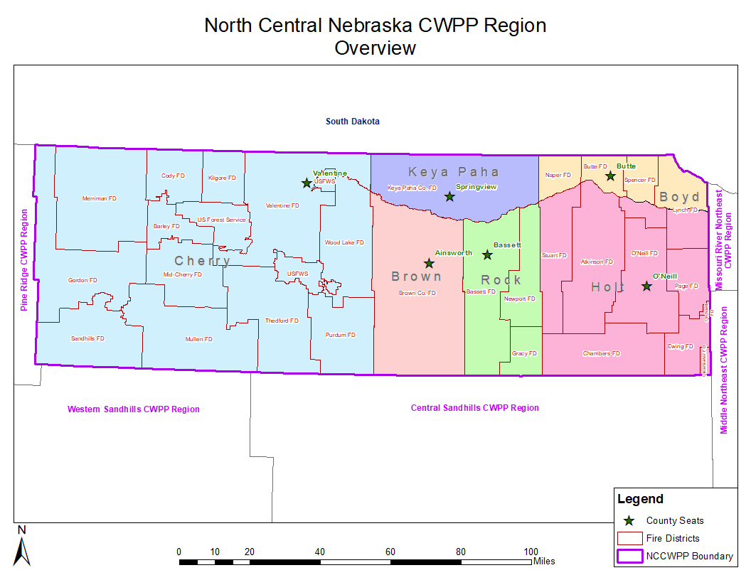 A map of the wildfire protection area, North Central Nebraska
