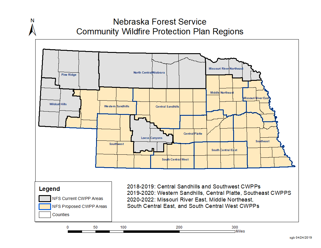 A map showing all the community wildfire protection areas of Nebraska.