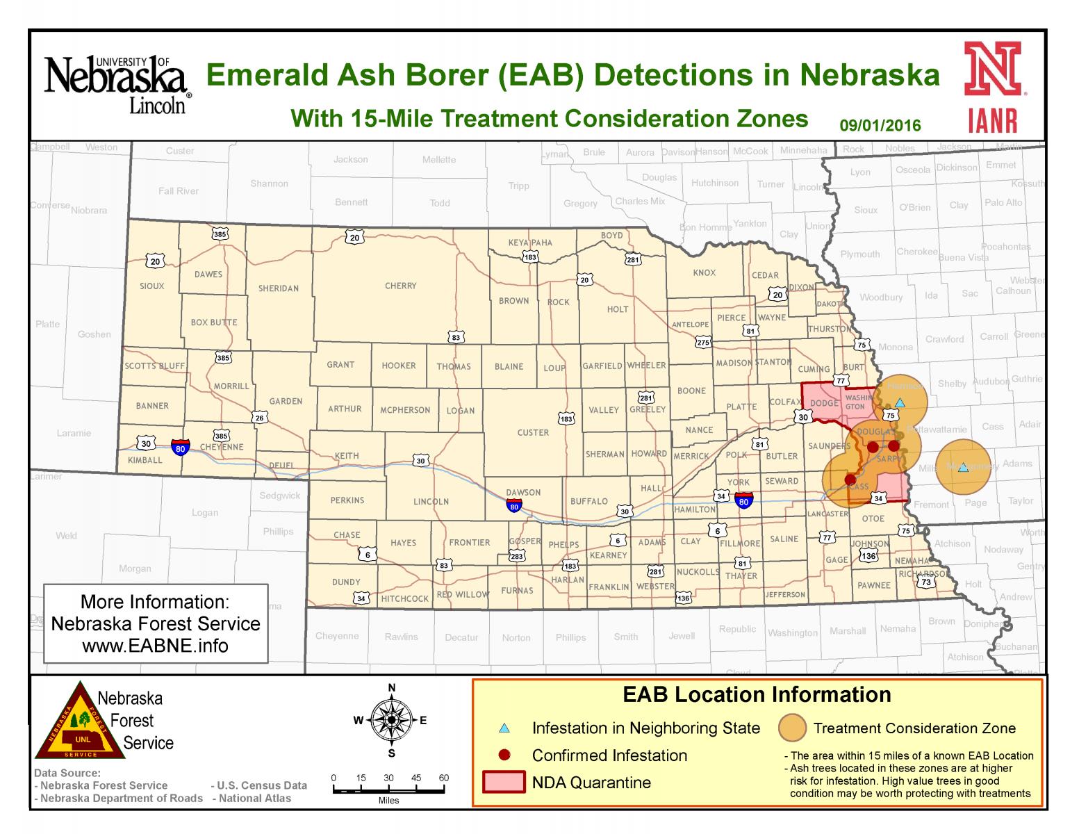 Emerald Ash Borer Nebraska Information - Emerald ash borer map