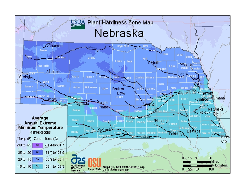 plant hardiness zones in Nebraska