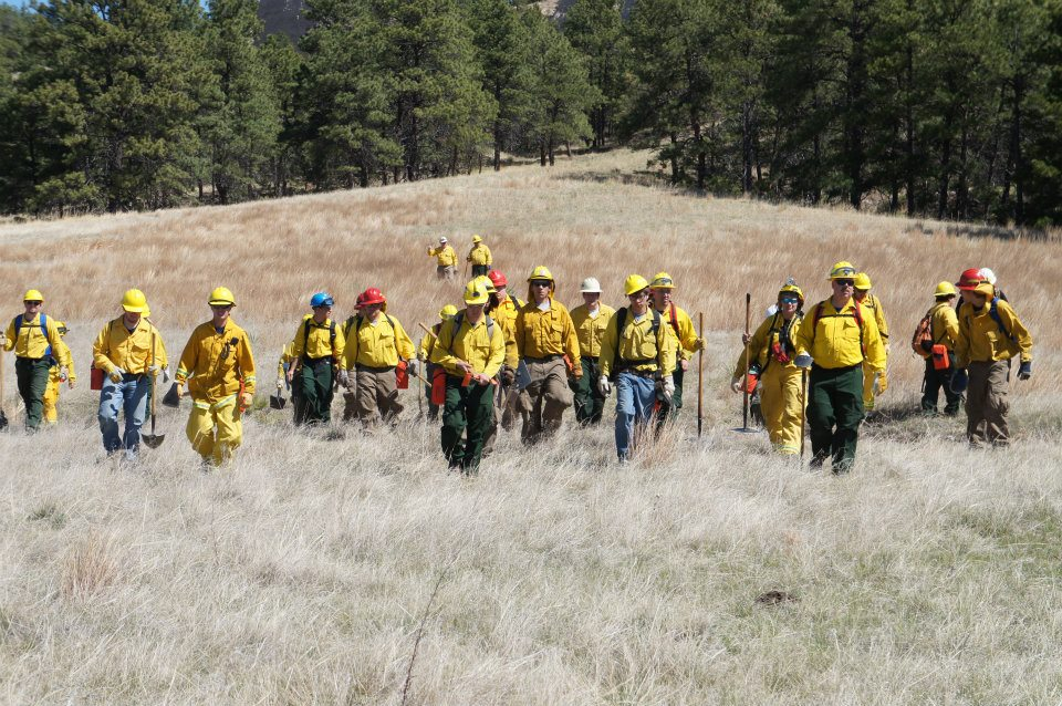 Trainees walk through grassy clearing during annual wildfire academy