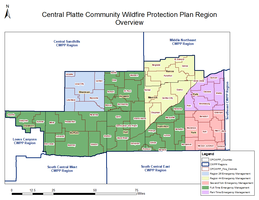 A map of the wildfire protection area, Central Platte Region of Nebraska