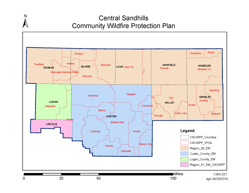 A map of the wildfire protection area, central sandhills of Nebraska