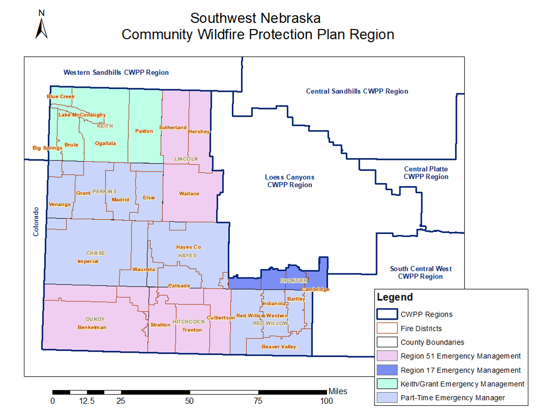 A map of the wildfire protection area, southwest Nebraska