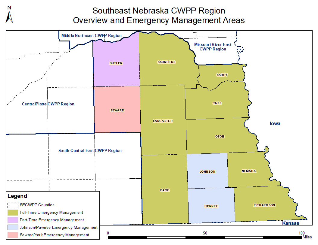 A map of the wildfire protection area, Southeast Nebraska