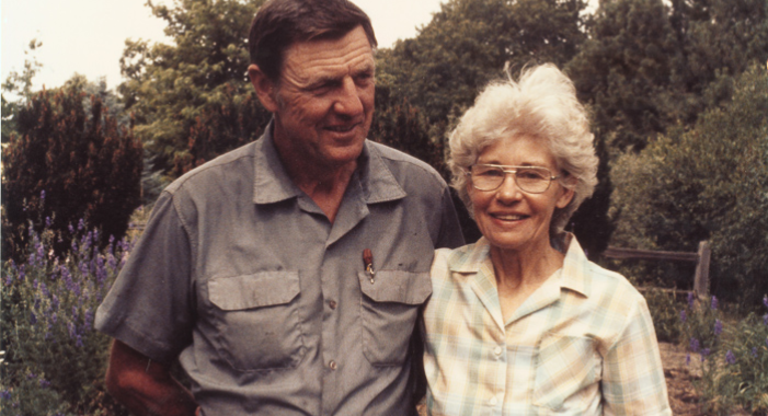 Walt and Virgina Bagley at their home, what is now known as Prairie Pines.