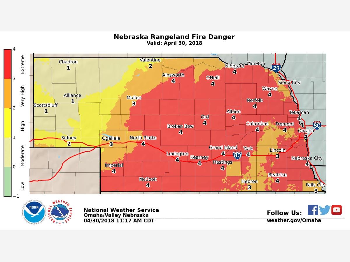 fire danger map nebraska forest service