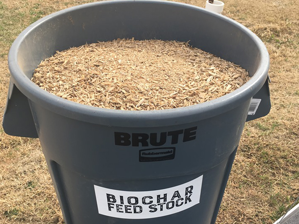 Biochar ingredients in a bucket.