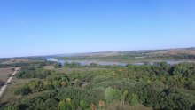 Panoramic view of trees and the Niobrara River.