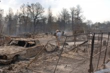 Homeowner walks through the aftermath of a wildfire.
