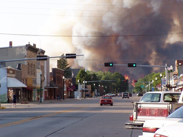 Fire encroaches on the city limits of Valentine, Nebraska.