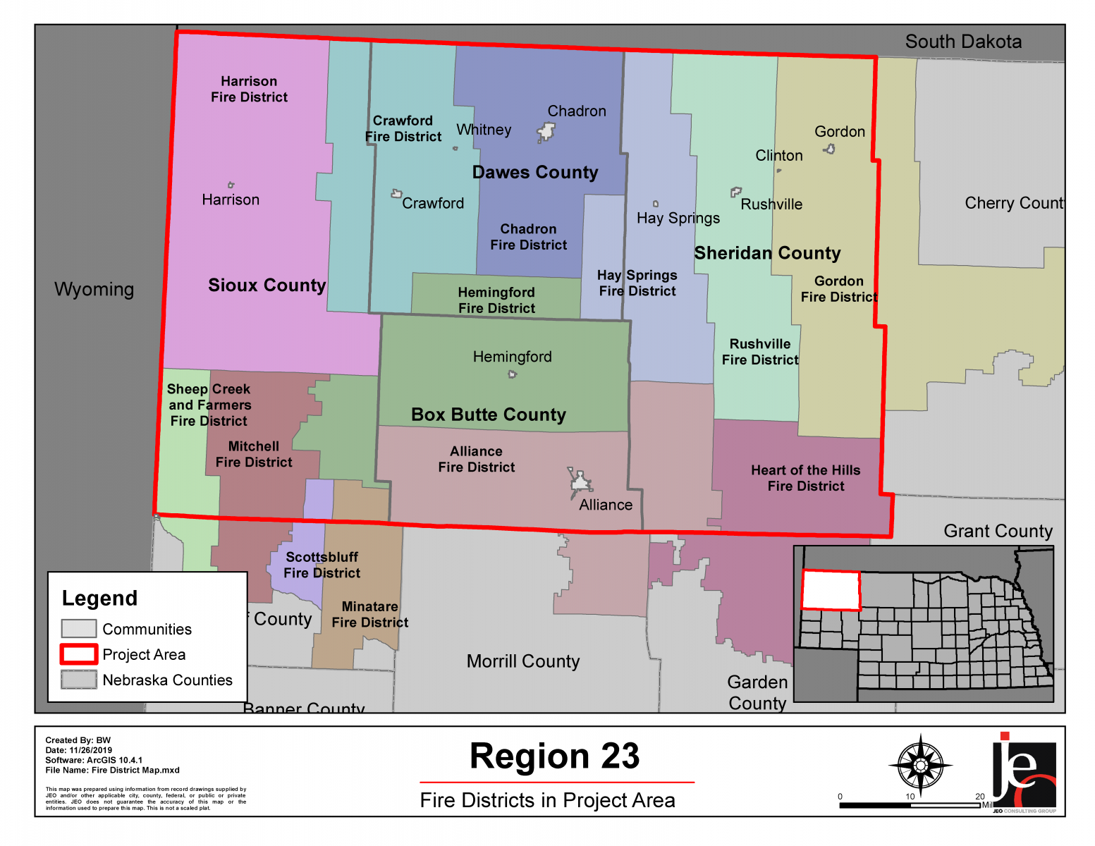 A map of the wildfire protection area, Pine Ridge Area